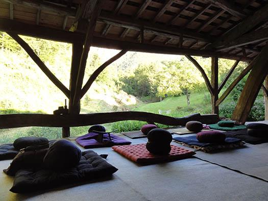 Des coussins de méditation devant un paysage